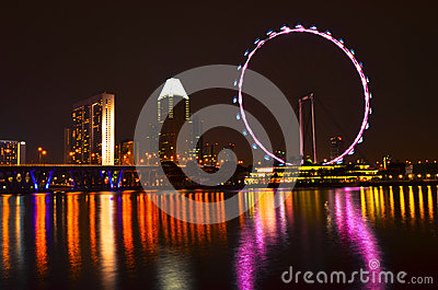 Singapore skyline and flyer