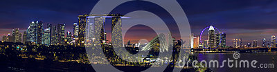 Singapore Skyline with Gardens by the Bay at Dusk Panorama Editorial Photography