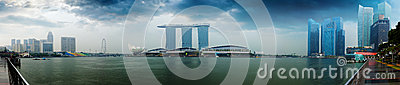 Singapore skyline - hotels and offices with reflection panorama