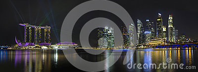 Singapore Skyline with Laser Light Show