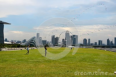 Singapore skyline, Marina Bay Sands and Gardens by the Bay Editorial Photo