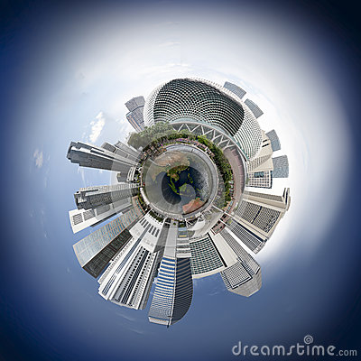Free Singapore Skyline Miniplanet Stock Images - 37063604