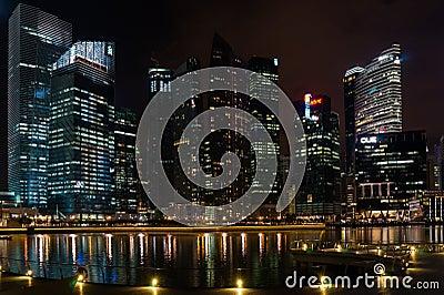 Singapore Skyline by Night Editorial Photo