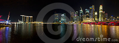 Singapore Skyline at Night Panorama
