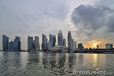 Singapore Skyline And River Stock Images - Image: 18732794