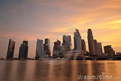 Singapore skyline at sunset Editorial Stock Photo