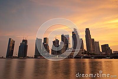 Singapore skyline at sunset Editorial Stock Photo