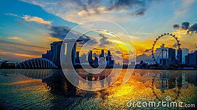 SINGAPORE STAD, SINGAPORE: Februari 12,2018: Singapore horisont Område för affär för Singapore ` s, marinafjärdsand och trädgårde arkivfilmer