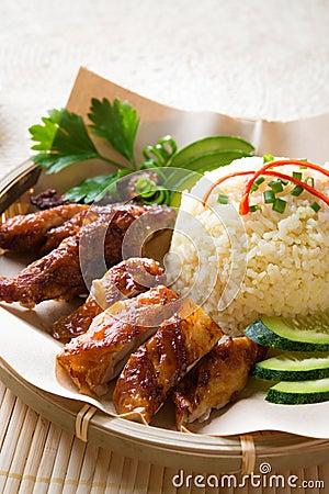 Singapore style Hainan chicken rice
