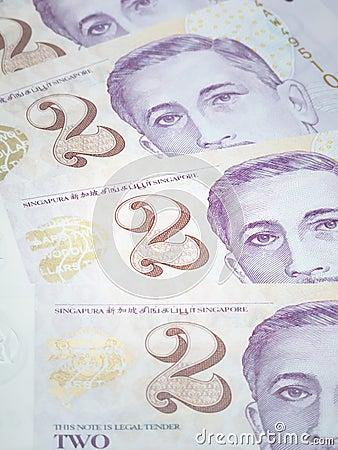 Singapore two dollar bills