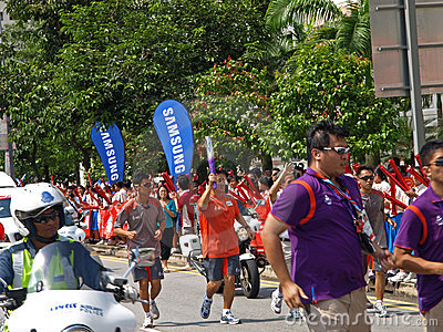 Singapore Youth Olympics 2010 Flame Procession Editorial Stock Photo