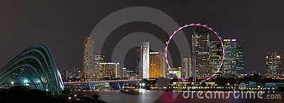 Singapur linia horyzontu panorama przy noc. Fotografia Editorial