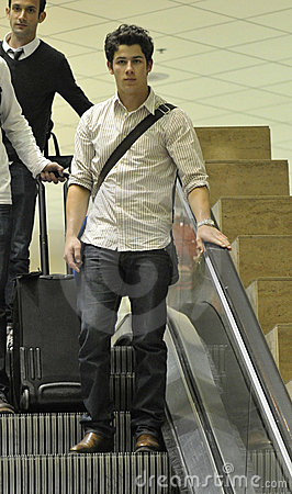 Singer actor Nick Jonas at LAX airport Editorial Photography