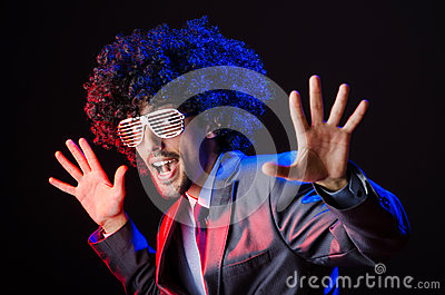 Singer with afro cut