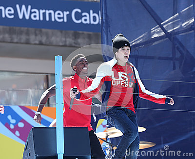 Singer Austin Mahone performs at the Arthur Ashe Kids Day 2013 at Billie Jean King National Tennis Center Editorial Stock Image