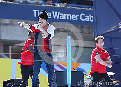 Singer Austin Mahone performs at the Arthur Ashe Kids Day 2013 at Billie Jean King National Tennis Center Editorial Photo