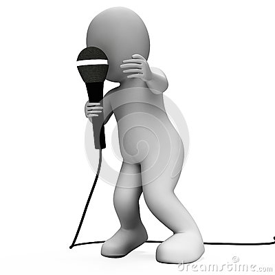 Singer Character With Mic Shows Singing Songs Or Talent Concert