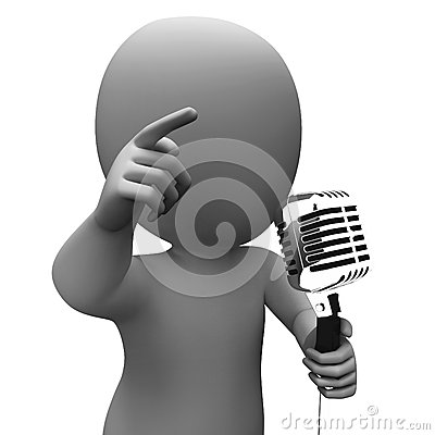 Singer Character Shows Music Or Speech Microphone Concert