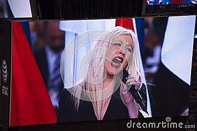 Singer Christina Aguilera Botching National Anthem Editorial Photo