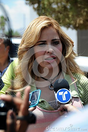 Singer Gloria Trevi being interviewd Editorial Photography