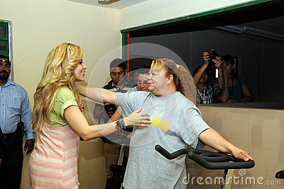 Singer gloria Trevi and inmate woman about to hug Editorial Stock Photo