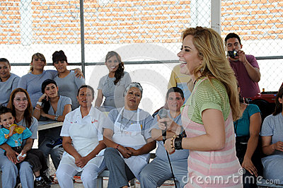 Singer gloria Trevi laughs among woaman inmates Editorial Stock Photo
