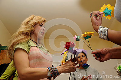 Singer Gloria Trevi, receives flowers from inmates Editorial Stock Photo