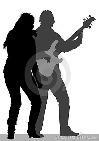 Singer and guitarist on stage