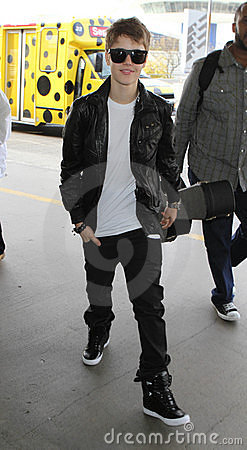 Singer Justin Bieber at LAX airport. Editorial Stock Image