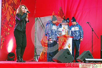 Singer Liza Lukashina performs on stage Editorial Image