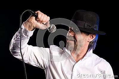 Singer performs jazz blues