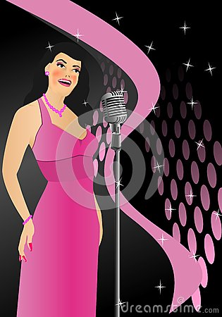 Singer in retro style, cdr vector