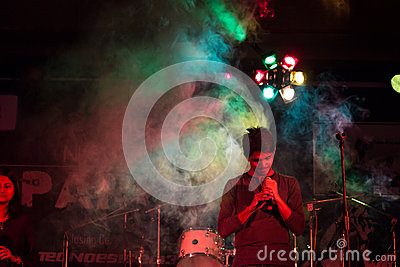 Singer rock band stage performance Editorial Image