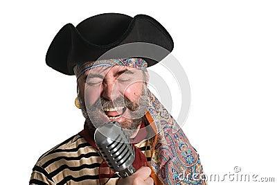 Singer sings in an old microphone.