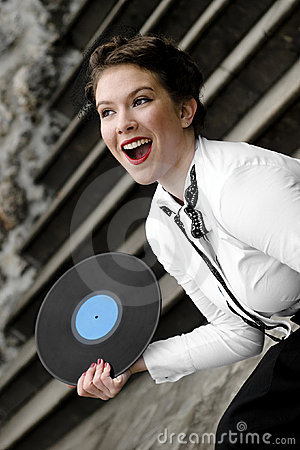 Singer with vinyl record
