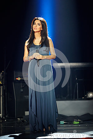Singer Zara performs on stage at Taganka Theater Editorial Photography