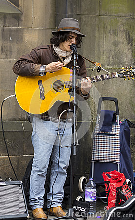 Singers and musicians at the Fringe Festival, Edinburgh, Scotland. Editorial Stock Photo