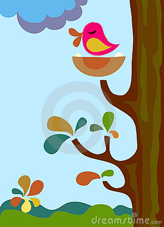 Singing bird on a tree