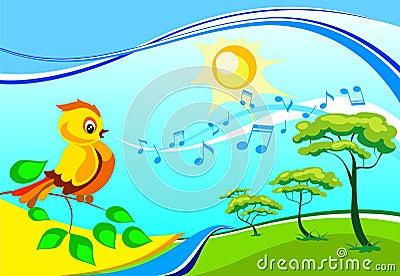 Singing birdy on a branch