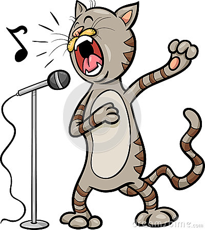 singing cat cartoon illustration stock vector image