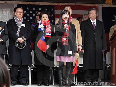 Singing the Chinese National Anthem Editorial Photo