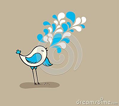 Singing cute bird