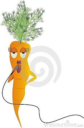 Singing diva microphone carrot vegetable