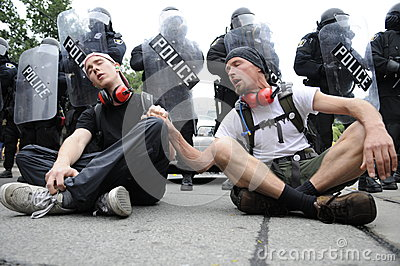 Singing protesters. Editorial Photography
