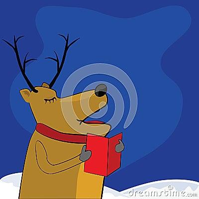 Singing reindeer Vector Illustration