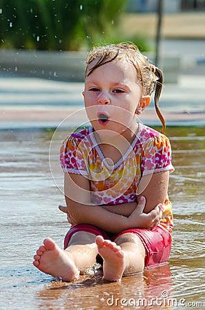 singing wet child