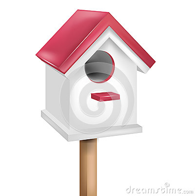 Single birdhouse isolated