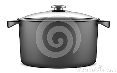 Single black cooking pan isolated on white