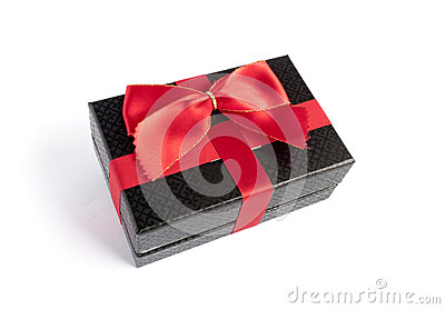 Single black gift box with red ribbon