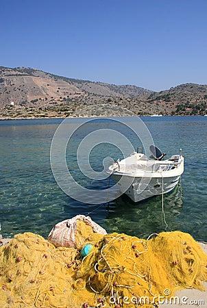 Single boat and fishing nets